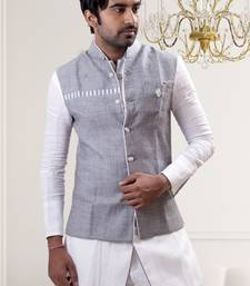Buy White plain linen pathhani suit with nehru jacket kurta-pajama online