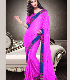 Buy Pink embroidered polyester saree with blouse brasso-saree online