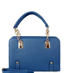 Buy Women Top Double Handle PU Deep Blue Leather Hand Bag handbag