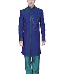 Buy Blue indowestern with butta hand embroidery in the front with brocade collar and buttons indo-western-dress online