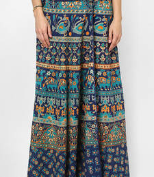 Buy Navy Blue Jaipuri Printed Cotton Wrap Skirt cotton-skirt online