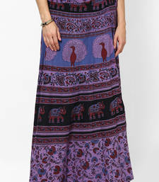 Buy Purple Jaipuri Printed Cotton Wrap Skirt skirt online