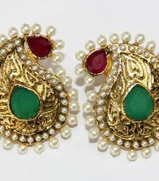 Buy ANTIQUE GOLD PLATED RED GREEN N WHITE PEARLS TOPS danglers-drop online