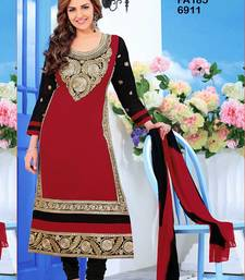 Buy Maroon  Black embroidered cotton-silk semi-stitched salwar with dupatta indian-dress online