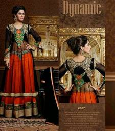 Black  Orange embroidered net semi-stitched salwar with dupatta shop online