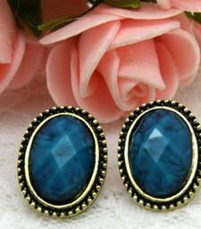 Buy Peacock Blue Oval Studs stud online