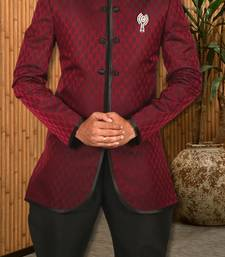 Buy Wine satin indowestern suit indo-western-dress online