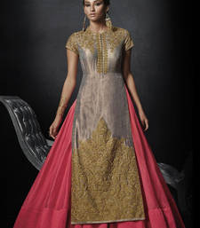 Buy Golden Embroidered Raw Silk Unstitched Gown party-wear-gown online