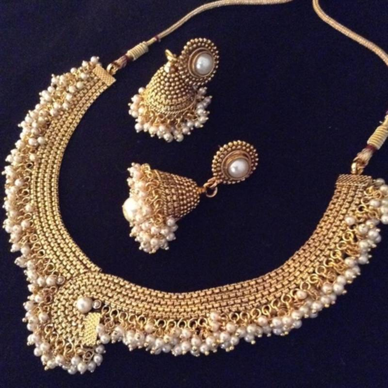 buy white pearl necklacesets online
