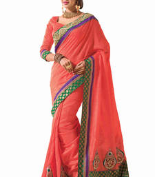 Buy Peach embroidered silk saree with blouse bhagalpuri-silk-saree online