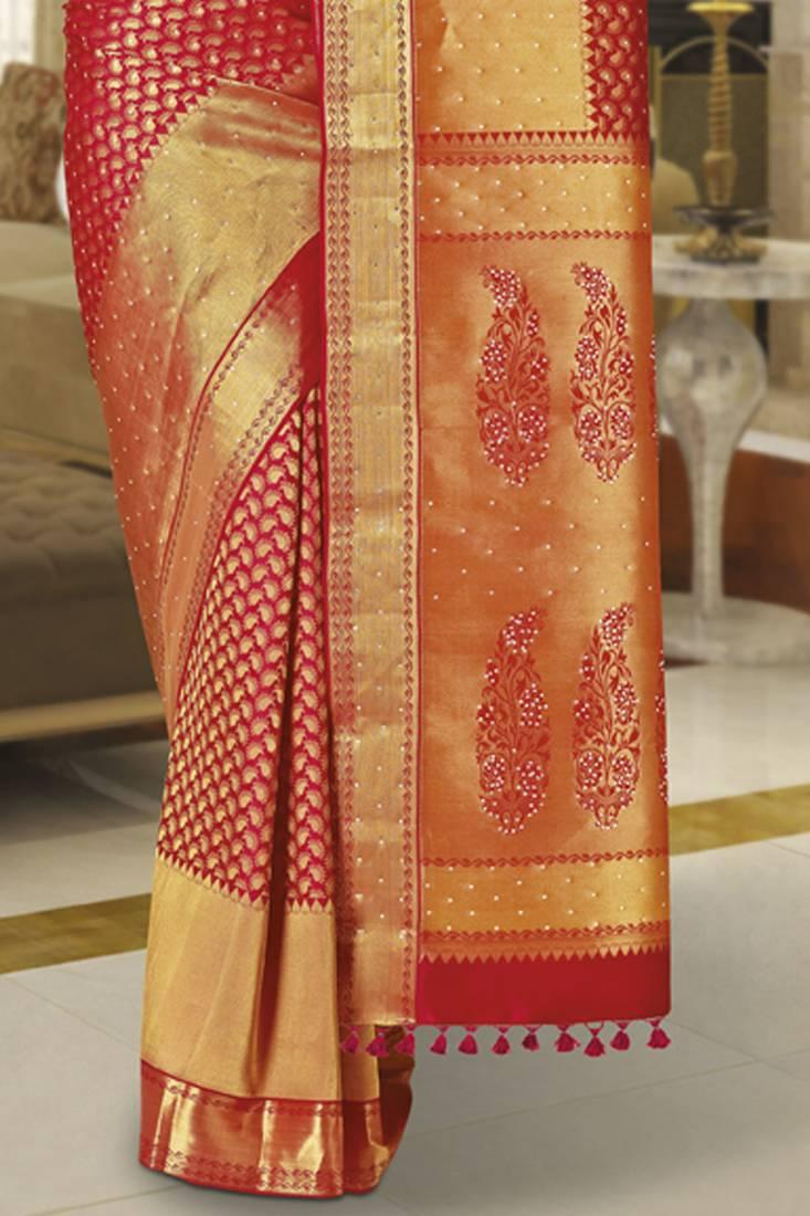 Buy Red Kanchipuram Sarees Bridal Traditional Silk Saree