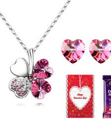Buy Valentine Special Hearts Leaf Pendant Set with Valentine card and chocolate valentine-gift online