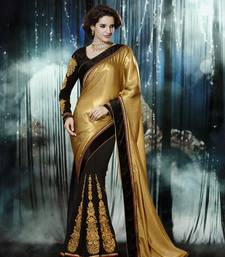 Buy Black - Gold embroidered crepe saree with blouse half-saree online
