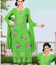Buy Green embroidered Viscose unstitched salwar with dupatta dress-material online