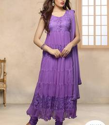 Buy Purple Embroidered Work net semi-stitched salwar with dupatta party-wear-salwar-kameez online