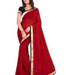 Buy RED BORDER GEORGETTE saree with blouse shimmer-saree online