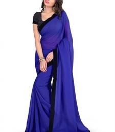 Buy BLUE BORDER GEORGETTE saree with blouse shimmer-saree online