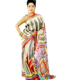 Buy Multicolor hand-painted silk saree durga-puja online