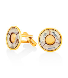 Buy Gold Plated Golden Shadow Round Cufflink Made with Swarovski Elements for Men gifts-for-boyfriend online