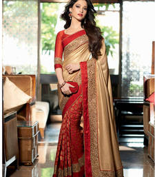 Buy Beige - Red embroidered georgette saree with blouse party-wear-saree online