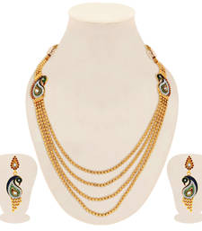 Buy Wavy Peacock Gold Plated 4 String Necklace Set for Women necklace-set online