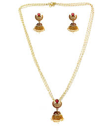 Buy Bead Drops Red Jhumki Set necklace-set online