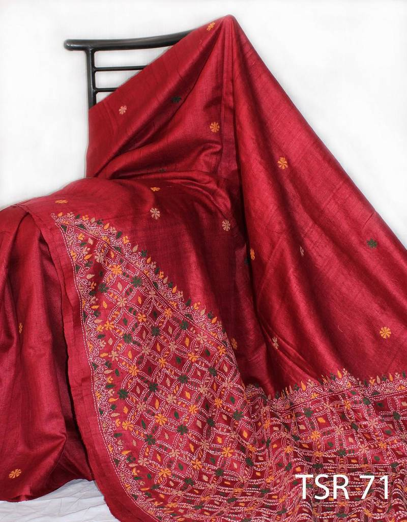 Where To Buy Bed Sheets Buy Maroon Kantha Stitch silk saree Online