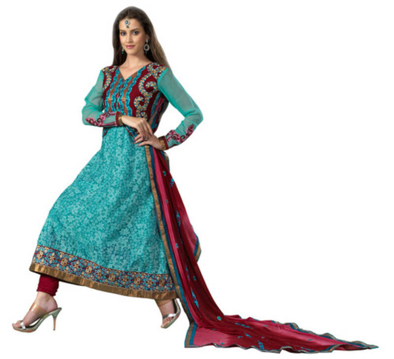 buy sky blue embroidered cotton semi stitched salwar with dupatta