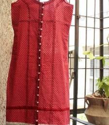 Buy Red Pollka with silver potli buttons dress online