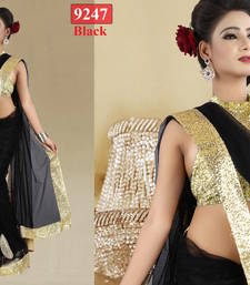 Buy Black plain net MM Designer saree with blouse piece net-saree online