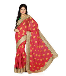 Buy Peach Viscose Butti saree with blouse viscose-saree online