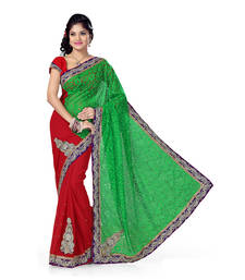 Buy Green And Red Brasso And Faux Chiffon Embroidered saree with blouse brasso-saree online