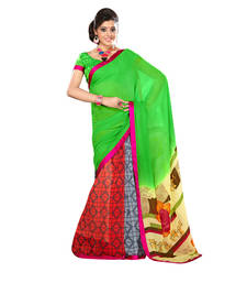 Buy Green Lace border Work georgette saree with blouse bridal-saree online