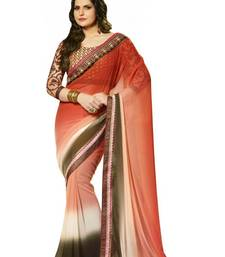 Buy Red - White - Brown embroidered chiffon saree with blouse party-wear-saree online