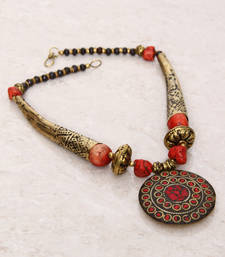 Buy Red Gold Tubes Tibetean Necklace Necklace online