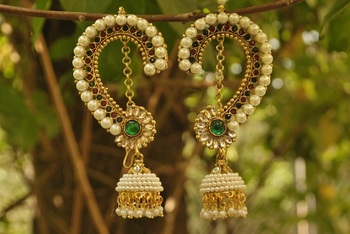 Beautiful Maroon & Green colour Earrings studded with pearls