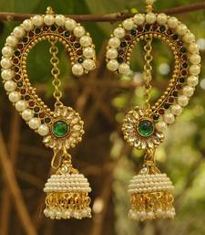 Buy Beautiful Maroon & Green colour Earrings studded with pearls hoop online