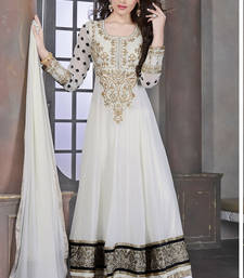 Buy White embroidered georgette semi-stitched salwar with dupatta wedding-salwar-kameez online