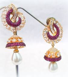 Buy FINE CZ N COLORED STONE STUD JHUMKA EARRING jhumka online