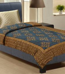 Buy Midnight Blue And Earthy Brown Single Bed Rajastani Razai jaipuri-razai online