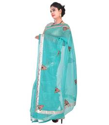 Buy Blue plain net saree with blouse supernet-saree online