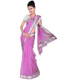 Buy Pink plain net saree with blouse supernet-saree online