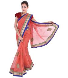 Buy Red plain net saree with blouse supernet-saree online