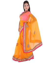 Buy Orange plain net saree with blouse supernet-saree online