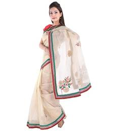 Buy multicolor plain tissue saree with blouse tissue-saree online