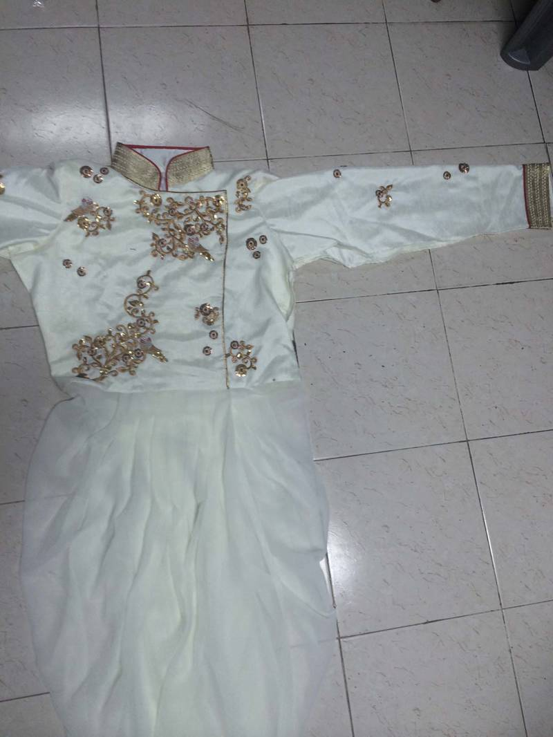 buy karishma kapoor wedding designer white gold dhoti pant style salwaar kameez replica online. Black Bedroom Furniture Sets. Home Design Ideas