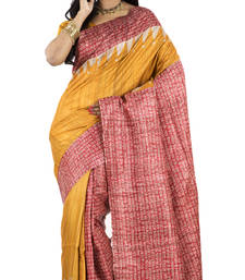 Buy Gold Printed silk saree with blouse silk-saree online