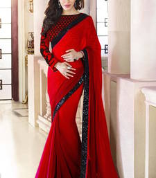 Buy Red Plain  Georgette designer saree with blouse other-actress-saree online