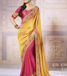 Buy Gold  -  Pink embroidered jacquard saree with blouse georgette-saree online