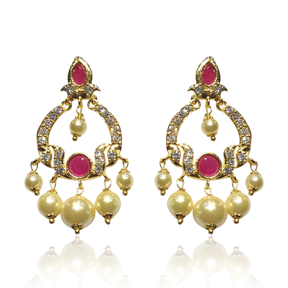 buy ruby pearl earrings chaandbali